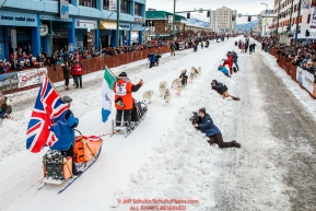 Rob Cooke leaves the start line on 4th Avenue during the ceremonial start of the 2018 Iditarod in Anchorage, Alaska on Saturday, March 3,  2018.Photo by Jeff Schultz/SchultzPhoto.com  (C) 2018  ALL RIGHTS RESERVED