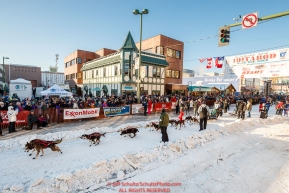 Ryan Anderson leaves the start line on 4th avenue during the Ceremonial Start of the 2017 Iditarod in Anchorage on Saturday March 4, 2017 Photo by Jeff Schultz/SchultzPhoto.com  (C) 2017  ALL RIGHTS RESVERVED