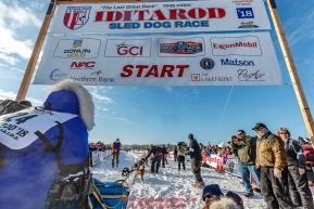 Anja Radano leaves the start line during the Official Re-Start of the 2018 Iditarod Sled Dog Race in Willow, Alaska on March 04, 2018. Photo by Jeff Schultz/SchultzPhoto.com  (C) 2018  ALL RIGHTS RESERVED