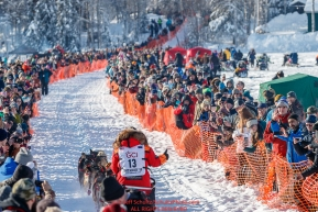 Mitch Seavey gives the crowd a thumbs up on Willow Lake at the Official Start of the 2018 Iditarod Sled Dog Race in Willow, Alaska on March 04, 2018. Photo by Jeff Schultz/SchultzPhoto.com  (C) 2018  ALL RIGHTS RESERVED