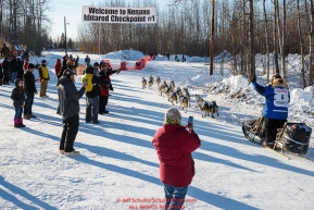 Linwood Fiedler arrives at the first checkpoint of Nenana during the 2017 Iditarod on Monday March 6, 2017.Photo by Jeff Schultz/SchultzPhoto.com  (C) 2017  ALL RIGHTS RESVERVED