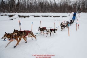 Travis Beals runs down the bank onto the Kuskokwim river 2 miles before arriving at the Nikolai checkpoint during the 2018 Iditarod race on Tuesday afternoon March 06, 2018.  This section of the trail is marked heavily because of overflow on either side of the trail. Photo by Jeff Schultz/SchultzPhoto.com  (C) 2018  ALL RIGHTS RESERVED