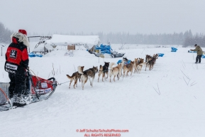 Aliy Zirkle parks her team at  the Nikolai checkpoint during the 2018 Iditarod race on Tuesday March 06, 2018. Photo by Jeff Schultz/SchultzPhoto.com  (C) 2018  ALL RIGHTS RESERVED