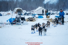 Andrew Nolan leaves the dog yard in the morning at the Nikolai checkpoint during the 2018 Iditarod race on Wednesday March 07, 2018. Photo by Jeff Schultz/SchultzPhoto.com  (C) 2018  ALL RIGHTS RESERVED
