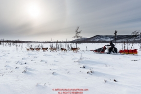 Mitch Seavey runs on the trail just prior to the checkpoint at Iditarod on Thursday, March 8th during the 2018 Iditarod Sled Dog Race -- AlaskaPhoto by Jeff Schultz/SchultzPhoto.com  (C) 2018  ALL RIGHTS RESERVED