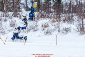Larry Daugherty makes a video on his smart phone as he runs on the trail just prior to the checkpoint at Iditarod on Thursday, March 8th during the 2018 Iditarod Sled Dog Race -- AlaskaPhoto by Jeff Schultz/SchultzPhoto.com  (C) 2018  ALL RIGHTS RESERVED