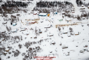 An aerial view shows many of the dog teams resting at the Ruby checkpoint during the 2017 Iditarod on Thursday afternoon March 9, 2017.Photo by Jeff Schultz/SchultzPhoto.com  (C) 2017  ALL RIGHTS RESERVED