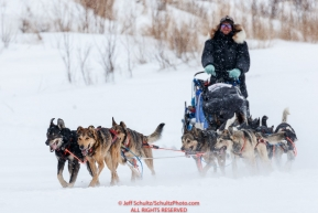 Aaron Peck dogs break trail in fresh snow and wind on the trail into the Iditarod checkpoint on Friday, March 9th during the 2018 Iditarod Sled Dog Race -- AlaskaPhoto by Jeff Schultz/SchultzPhoto.com  (C) 2018  ALL RIGHTS RESERVED