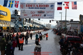Matt Hall leaves the start line on 4th avenue during the 2019 ceremonial start of the Iditarod  in downtown Anchorage, Alaska on Saturday March 2..Photo by Jeff Schultz/  (C) 2019  ALL RIGHTS RESERVED