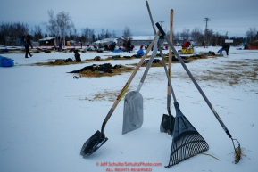 Tools of the trade of the dog lot clean-up crew sit at the ready at the Huslia checkpoint during the 2017 Iditarod on Saturday morning March 11, 2017.Photo by Jeff Schultz/SchultzPhoto.com  (C) 2017  ALL RIGHTS RESERVED