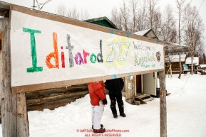 A handmade sign outside the community center at the Koyukuk checkpoint welcomes the Iditarod during the 2017 Iditarod on Saturday afternoon March 11, 2017.Photo by Jeff Schultz/SchultzPhoto.com  (C) 2017  ALL RIGHTS RESERVED