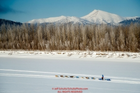 Mats Pettersson runs on the trail on the Yukon River 5 miles before the Kaltag checkpoint during the 2017 Iditarod on Sunday afternoon March 12, 2017.Photo by Jeff Schultz/SchultzPhoto.com  (C) 2017  ALL RIGHTS RESERVED