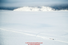 Sebastien Vergnaud on the Yukon River 5 miles before the Kaltag checkpoint during the 2017 Iditarod on Sunday afternoon March 12, 2017.Photo by Jeff Schultz/SchultzPhoto.com  (C) 2017  ALL RIGHTS RESERVED