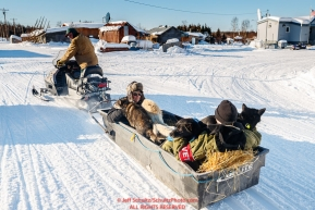 Long time volunteer Rich Burnham takes two vets and a load of dropped dogs to the airport via snowmachine at the Kaltag checkpoint during the 2017 Iditarod on Monday morning March 12, 2017.Photo by Jeff Schultz/SchultzPhoto.com  (C) 2017  ALL RIGHTS RESERVED