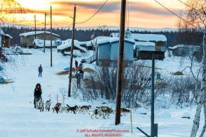 Allen Moore leaves the Kaltag checkpoint at sunrise during the 2017 Iditarod on Monday morning March 12, 2017.Photo by Jeff Schultz/SchultzPhoto.com  (C) 2017  ALL RIGHTS RESERVED