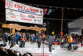 Pete Kaiser crosses the Nome finish line winning the 2019 Iditarod Trail Sled Dog Race. Pete's winning time is 9 days 12 hours 39 minutes and 6 secondsPhoto by Jeff Schultz/  (C) 2019  ALL RIGHTS RESERVED