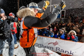 Pete Kaiser waves and shakes hands with the crowd at the Nome finish line after winning the 2019 Iditarod Trail Sled Dog Race. Pete's winning time is 9 days 12 hours 39 minutes and 6 secondsPhoto by Jeff Schultz/  (C) 2019  ALL RIGHTS RESERVED