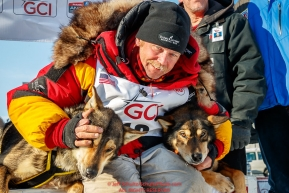Mitch Seavey wins his third Iditarod in record time of 8 days, 3 hours, 40 minutes and 13 seconds in Nome during the 2017 Iditarod on Tuesday afternoon March 14, 2017.Photo by Jeff Schultz/SchultzPhoto.com  (C) 2017  ALL RIGHTS RESERVED