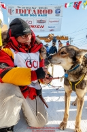 Mitch Seavey poses with his star lead dog
