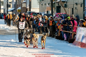 Dallas Seavey arrives at the finish line in Nome to claim 2nd place during the 2017 Iditarod on Tuesday eveing March 14, 2017.Photo by Jeff Schultz/SchultzPhoto.com  (C) 2017  ALL RIGHTS RESERVED