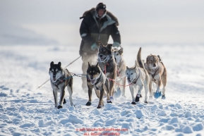 Ray Redington Jr. runs on the sea ice as he approaches Nome on Wednesday March 14th in the 46th running of the 2018 Iditarod Sled Dog Race.  Photo by Jeff Schultz/SchultzPhoto.com  (C) 2018  ALL RIGHTS RESERVED