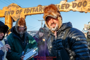 Pete Kaiser at the finish line in Nome during the 2017 Iditarod on Wednesday March 15, 2017.Photo by Jeff Schultz/SchultzPhoto.com  (C) 2017  ALL RIGHTS RESERVED