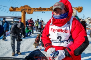 Ryan Redington poses at the finish line in Nome during the 2017 Iditarod on Wednesday March 15, 2017.Photo by Jeff Schultz/SchultzPhoto.com  (C) 2017  ALL RIGHTS RESERVED