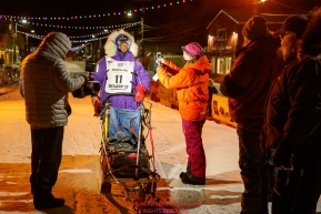 Ketil Reitan is interviewed after checking in and finishing in 31st place at the finish line in Nome during the 2017 Iditarod on Thursday March 16, 2017.Photo by Jeff Schultz/SchultzPhoto.com  (C) 2017  ALL RIGHTS RESERVED