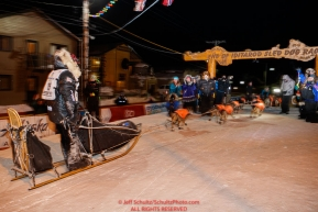 Martin Buser runs into the finish chute arriving in 32nd place in Nome during the 2017 Iditarod on Thursday March 16, 2017.Photo by Jeff Schultz/SchultzPhoto.com  (C) 2017  ALL RIGHTS RESERVED