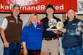 The Donlin Gold Sportsmanship Award is presented by Andy Cole, general manager for Donlin Gold with Kurt Parkan and Jan Halstead to Allen Moore at the Nome Musher's Award Banquet during the 2017 Iditarod on Sunday March 19, 2017.Photo by Jeff Schultz/SchultzPhoto.com  (C) 2017  ALL RIGHTS RESERVED