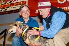 The City of Nome Lolly Medley Memorial Golden Harness Award is presented by Richard Beneville, mayor of Nome to Pilot, Mitch Seavey's lead dog at the Nome Musher's Award Banquet during the 2017 Iditarod on Sunday March 19, 2017.Photo by Jeff Schultz/SchultzPhoto.com  (C) 2017  ALL RIGHTS RESERVED