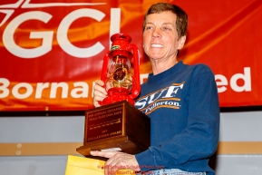The Red Lantern Award for the last place musher goes to Cindy Abbott at the Nome Musher's Award Banquet during the 2017 Iditarod on Sunday March 19, 2017.Photo by Jeff Schultz/SchultzPhoto.com  (C) 2017  ALL RIGHTS RESERVED