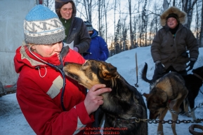 Musher Jodi Bailey's dog Wizard gets an examie by volunteer vet Natalie Bullard at the pre-race vet-check for dogs running this year's 2017 Iditarod at Iditarod Headquarters in Wasilla, Alaska.  Wednesday March 1, 2017Photo by Jeff Schultz/SchultzPhoto.com  (C) 2017  ALL RIGHTS RESVERVED