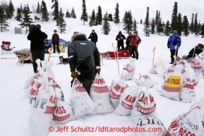 Mike Williams, Jr., picks up his supplies at Rainy Pass checkpoint March 4, 2013.
