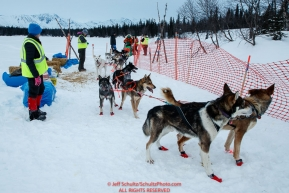Kelly Maixner checks in at the Finger Lake checkpoint during the 2018 Iditarod race on Monday March 05, 2018. Photo by Jeff Schultz/SchultzPhoto.com  (C) 2018  ALL RIGHTS RESERVED