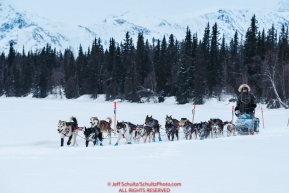 Mike Williams Jr. and team run on the trail just prior to the Finger Lake checkpoint during the 2018 Iditarod race on Monday March 05, 2018. Photo by Jeff Schultz/SchultzPhoto.com  (C) 2018  ALL RIGHTS RESERVED