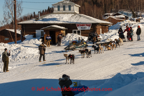 Ray Redington, Jr., leaves the Yukon village of Ruby after an 8-hour layover on Friday, March 7, during the Iditarod Sled Dog Race 2014.PHOTO (c) BY JEFF SCHULTZ/IditarodPhotos.com -- REPRODUCTION PROHIBITED WITHOUT PERMISSION