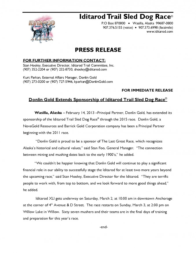 2013 IDITAROD PRESS RELEASE - DONLIN GOLD EXTENDS COMMITMENT TO IDITAROD