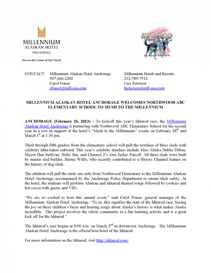 2013 IDITAROD PRESS RELEASE - MUSH TO THE MILLENNIUM EVENT_Page_1