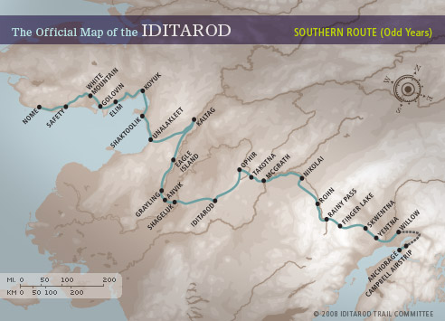 Race Map – Iditarod Distance Travelled Map on