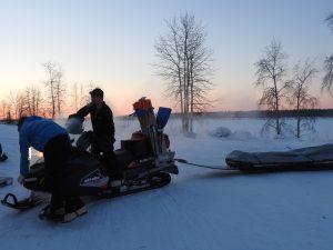 Cameron Gray preps his sled